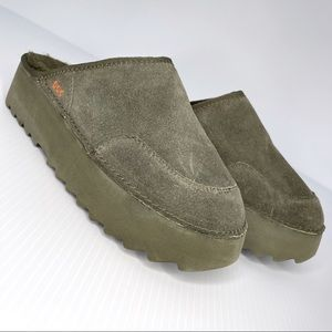 Rocket Dog Platform Green Nubuck Clogs